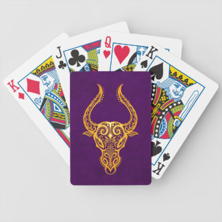 Intricate Yellow Taurus Zodiac on Purple Poker Deck