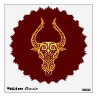 Intricate Yellow Taurus Zodiac on Red Wall Decal