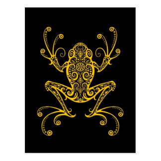 Intricate Yellow Tree Frog on Black Postcard