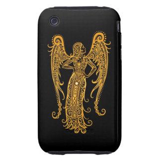 Intricate Yellow Virgo Zodiac on Black iPhone 3 Tough Covers