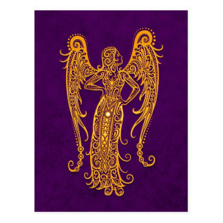 Intricate Yellow Virgo Zodiac on Purple Postcard
