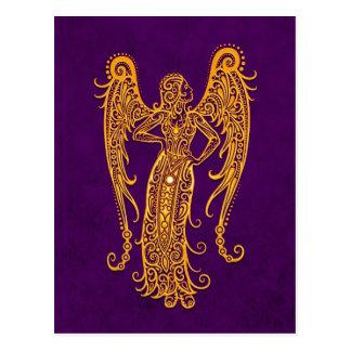 Intricate Yellow Virgo Zodiac on Purple Postcards