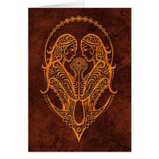 Intrictate Stone Gemini Symbol Card