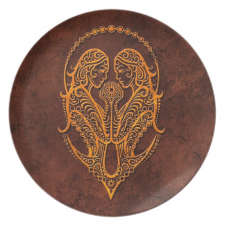 Intrictate Stone Gemini Symbol Dinner Plate