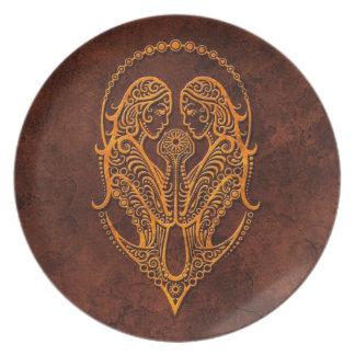 Intrictate Stone Gemini Symbol Plates