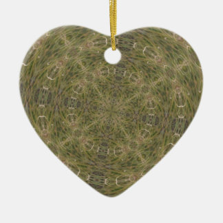 Intriguing Designed Pattern Double-Sided Heart Ceramic Christmas Ornament