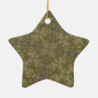Intriguing Designed Pattern Double-Sided Star Ceramic Christmas Ornament