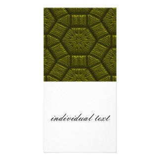 Intriguing shimmering Star Pattern,olive Photo Card