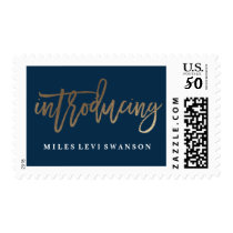 Introducing faux foil birth announcement stamp