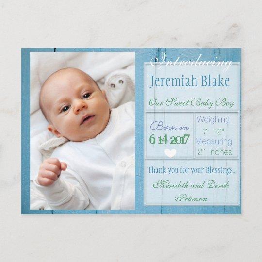 introducing new baby boy announcement postcard zazzle com