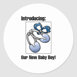 Introducing our new baby boy classic round sticker
