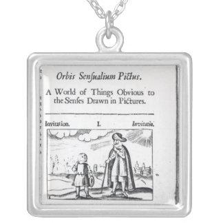 Introduction to 'Orbis Sensualium Pictus' Square Pendant Necklace