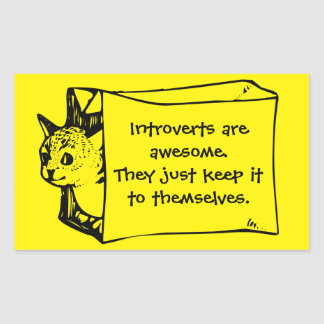 Introverts are Awesome Cat in a Bag Sticker