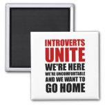 Introverts Unite 2 Inch Square Magnet