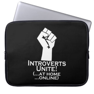 Introverts Unite, At Home, Online, Funny Laptop Sleeves