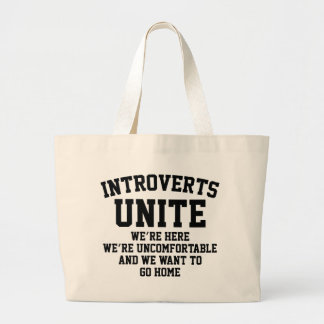 Introverts Unite Large Tote Bag