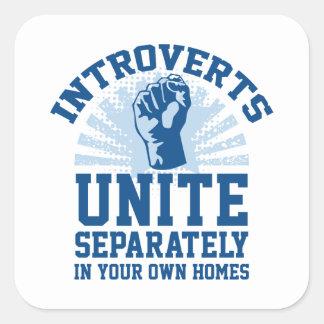 Introverts Unite Square Sticker
