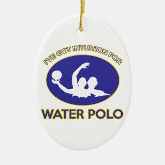 intuición del water polo adorno navideño ovalado de cerámica