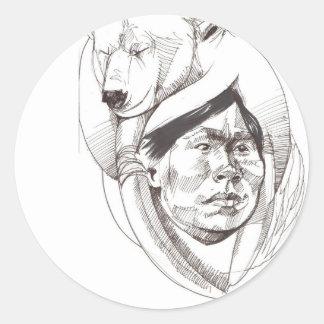 Inuit and Polar Bear Classic Round Sticker