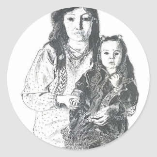 Inuit family classic round sticker