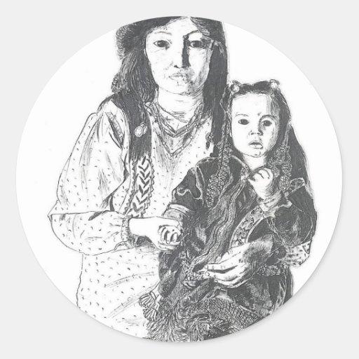Inuit family classic round sticker