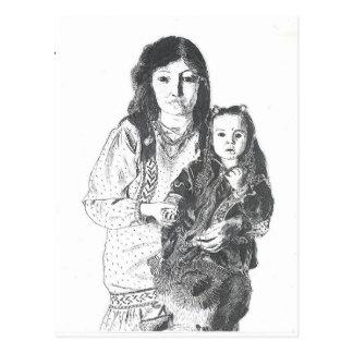 Inuit family postcard