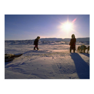 Inuit girls with their team, Pelly Bay Post Card