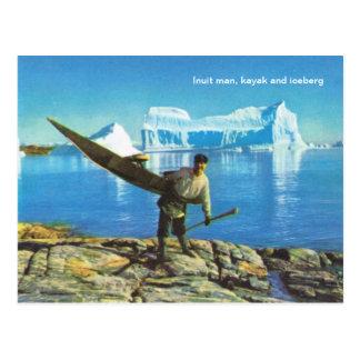 Inuit man with kayak and iceberg postcard