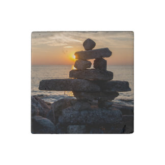 Inukshuk at Sunset - Lake Huron Stone Magnet