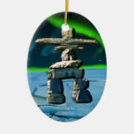 Inukshuk Native American Spirit Stones Double-Sided Oval Ceramic Christmas Ornament