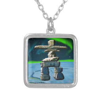 Inukshuk Native American Spirit Stones Silver Plated Necklace