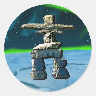 Inukshuk Native American Spirit Stones Classic Round Sticker