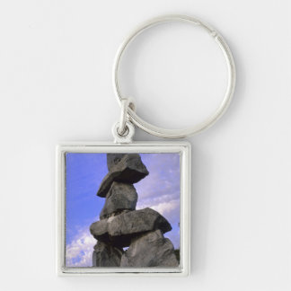 Inukshuk, Northwest Territories, Canada Silver-Colored Square Keychain