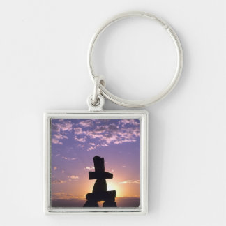 Inukshuk Northwest Territories, Canada Silver-Colored Square Keychain