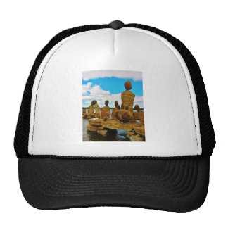 Inukshuk stone river sculptures trucker hat