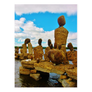Inukshuk stone river sculptures post cards