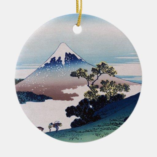 Inume-toge de Koshu, Hokusai Adorno Redondo De Cerámica