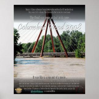 Inundación de Columbus Indiana del poster 2008