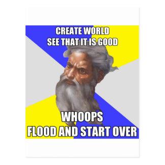 Inundación de dios del duende tarjeta postal