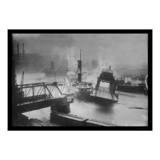 Inundación que destruye un puente en Cleveland 191 Póster