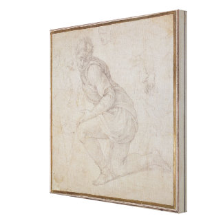 Inv. 5211-75 Fawkener Recto  Kneeling man Canvas Print