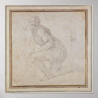 Inv. 5211-75 Fawkener Recto  Kneeling man Poster