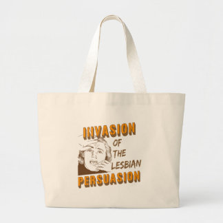 Invasión de la persuasión lesbiana bolsa tela grande