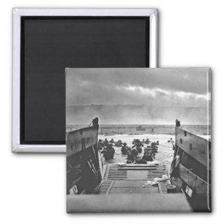 Invasión de Normandía en el día D - 1944 Imán Cuadrado