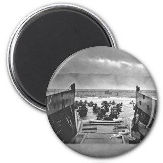 Invasión de Normandía en el día D - 1944 Imán Redondo 5 Cm