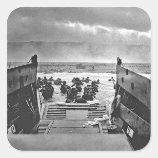 Invasión de Normandía en el día D - 1944 Pegatina Cuadrada