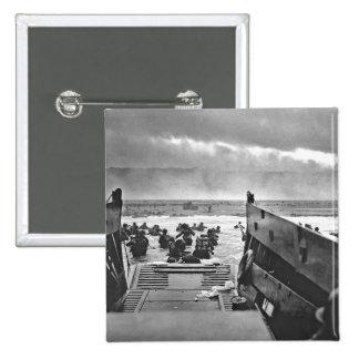 Invasión de Normandía en el día D - 1944 Pin Cuadrada 5 Cm