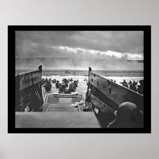 Invasión de Normandía en el día D - 1944 Póster
