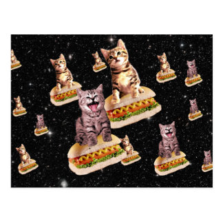 invasión del gato del perrito caliente postales