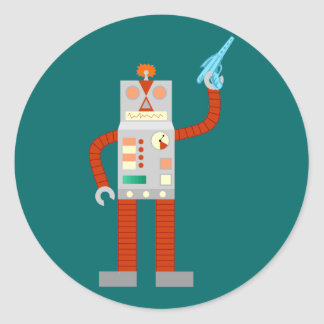 Invasión del robot de Raygun Pegatina Redonda